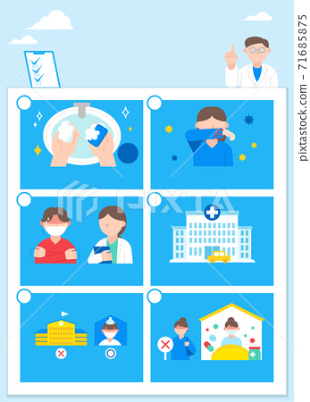 Health concept, virus and flu prevention Infographic element illustration 001 71685875