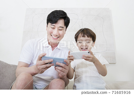 Concept of friendly family, Loving father and cute son 018 71685916