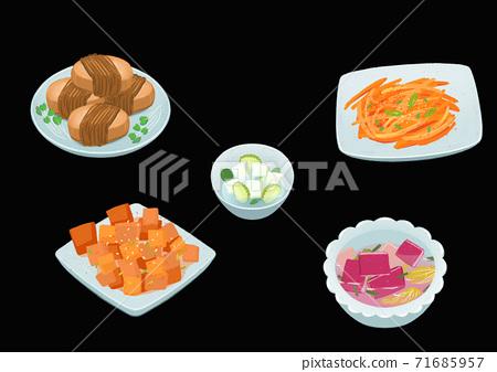 Set of korean food flat design illustration 012 71685957