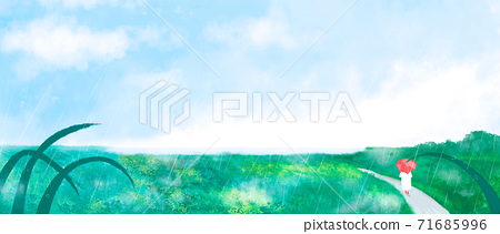 Summer landscape with green grass, forest illustration 006 71685996