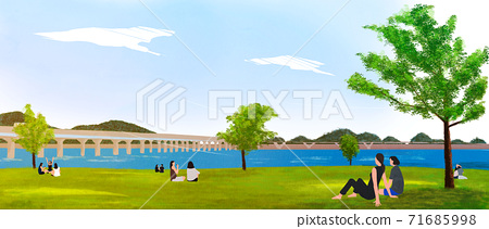 Summer landscape with green grass, forest illustration 002 71685998