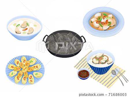 Set of korean food flat design illustration 007 71686003