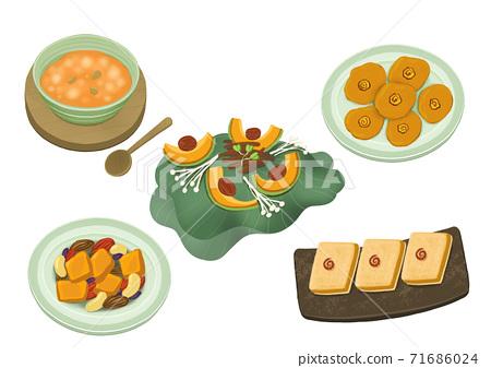 Set of korean food flat design illustration 015 71686024