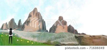 Summer landscape with green grass, forest illustration 008 71686049