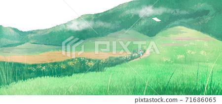 Summer landscape with green grass, forest illustration 007 71686065