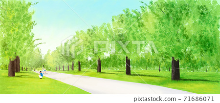 Summer landscape with green grass, forest illustration 003 71686071