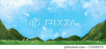 Summer landscape with green grass, forest illustration 009 71686074