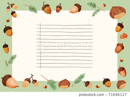Thanksgiving background with space for text, card and banner with autumn leaves and vegetables illustration 003 71686127