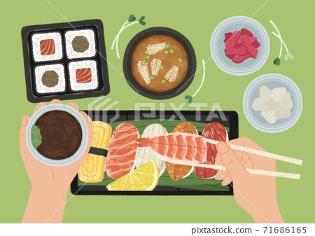 Delicious food top view flat design illustration 002 71686165