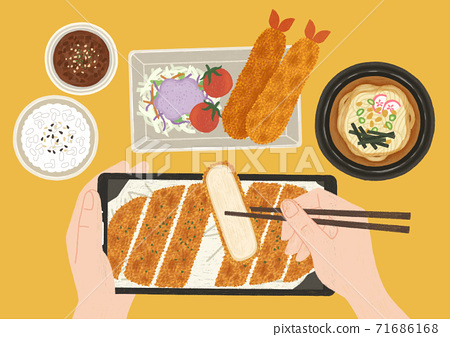 Delicious food top view flat design illustration 003 71686168