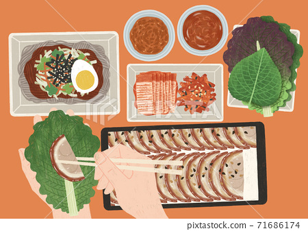 Delicious food top view flat design illustration 004 71686174
