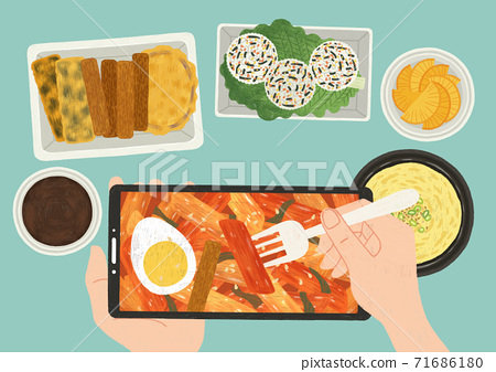 Delicious food top view flat design illustration 007 71686180