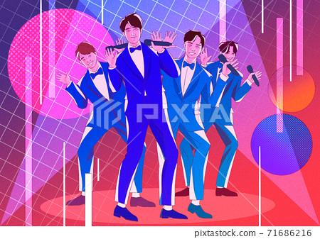 Musicians performing on stage cartoon illustration 014 71686216