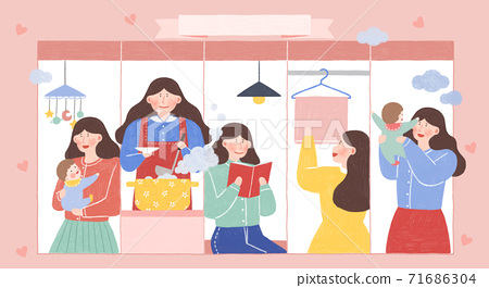 Daily routine or activities cartoon illustration 001 71686304