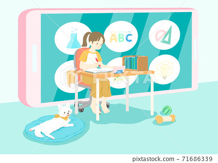 Online education concept in flat style illustration 005 71686339