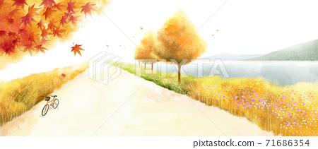Beautiful autumn landscape in park illustration 001 71686354