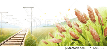 Beautiful autumn landscape in park illustration 002 71686357