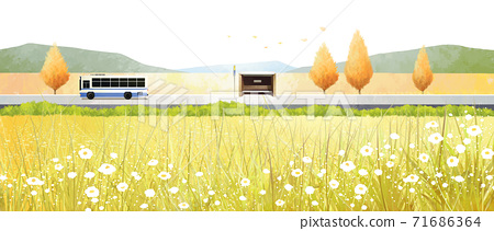Beautiful autumn landscape in park illustration 003 71686364