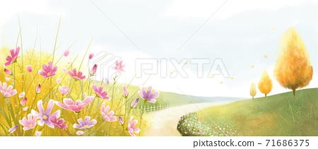 Beautiful autumn landscape in park illustration 009 71686375