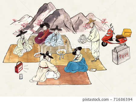 Korean traditional pop art style retro comic book cartoon illustration 007 71686394