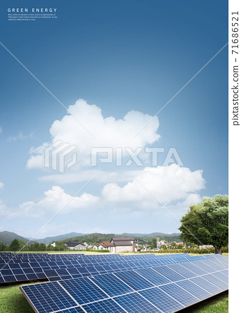 3D Eco friendly concept with blue sky 006 71686521