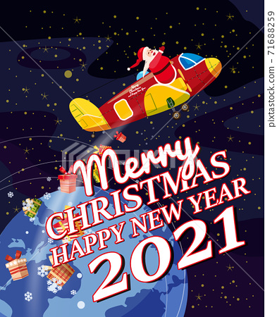 Santa Claus Van with text Merry Chrismas and Happy New Year 2021 flying in plane delivering shipping gifts 71688259