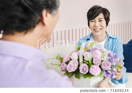 Happiness people lifestyle, Asian senior couple 303 71689234