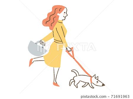 一個女人遛狗 71691963