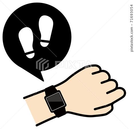 矢量圖的檢查手臂上的智能手錶的足跡圖標 71693054
