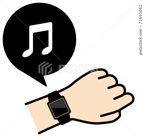 矢量圖的檢查手臂上的智能手錶音樂圖標 71693061