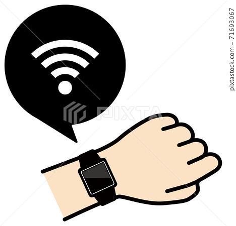 矢量圖的檢查手臂wi-fi圖標上的智能手錶 71693067