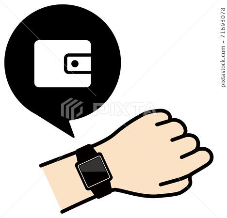 矢量圖的檢查手臂上的智能手錶的錢包圖標 71693078