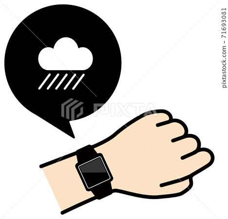 矢量圖的檢查手臂上的智能手錶雨圖標 71693081