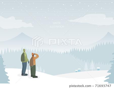 下雪的冬天插圖11的集合 71693747
