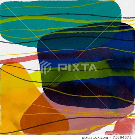 抽象的水彩背景和幾何插畫 71694673