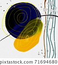 抽象的水彩背景和幾何插畫 71694680