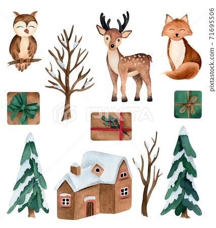 Winter animals watercolor illustrations set  71695506