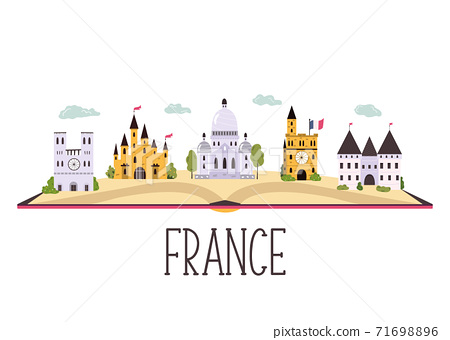 Abstract banner with famous buildings, landmarks of France. Vector hand drawn banner 71698896