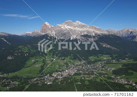 Dolomites Mount Tofana and downtown Cortina 71701162