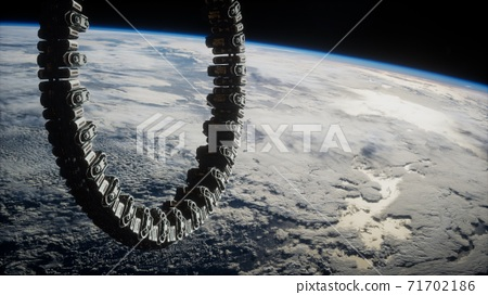 futuristic space station on Earth orbit 71702186