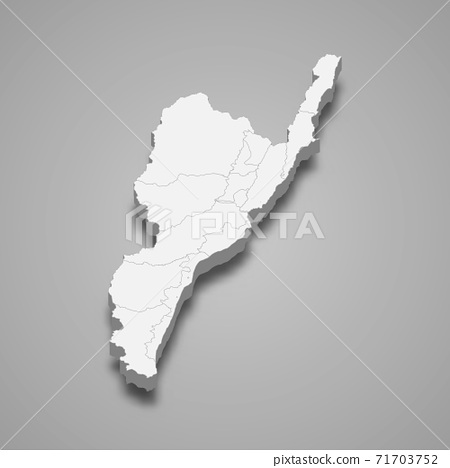 3d isometric map of Taitung County is a region of Taiwan 71703752