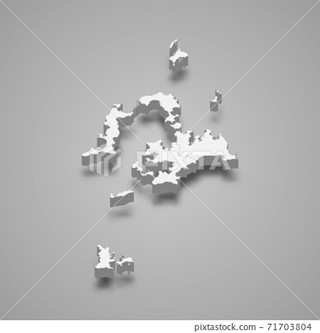 3d isometric map of Penghu County is a region of Taiwan 71703804