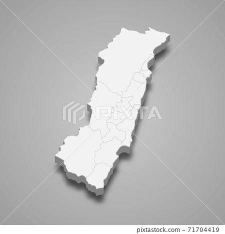 3d isometric map of Hualien County is a region of Taiwan 71704419