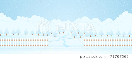 winter landscape, trees on hill and snow falling, grass and fence, paper art style 71707563