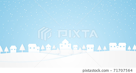 landscape, castle on hill with trees and snow falling in winter season, paper art style 71707564