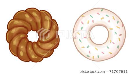 초콜릿의 프렌치 크루 오류 및 컬러 스프레이가 걸린 화이트 초콜릿 도넛 71707611