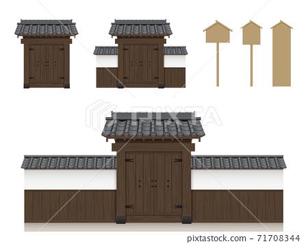 부케 야시키의 문과 담 일본식 일러스트 소재 _ 기와 지붕 _ 나무 _ 문 _ 간판 71708344