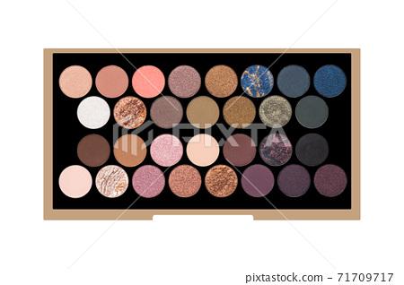 large palette of eyeshadows isolated on white background. 71709717