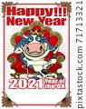 """2021新年賀卡模板""""牛王""""新年快樂手寫字符的可用空間 71713321"""