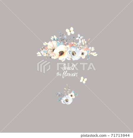 色彩豐富的花卉素材組合和設計元素 71713944